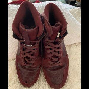 Men's burgundy suede high top sneakers